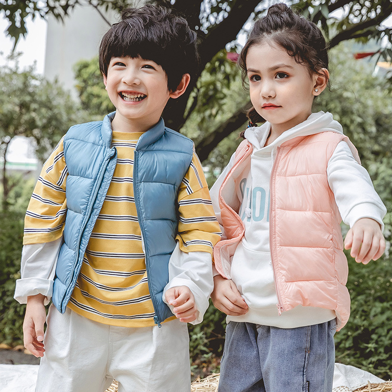 Fall Children Down-cotton Vest Winter Kids Clothes Baby Boys Warm Zipper Vest Little Girls Candy Cotton Sleeveless Outerwear New image