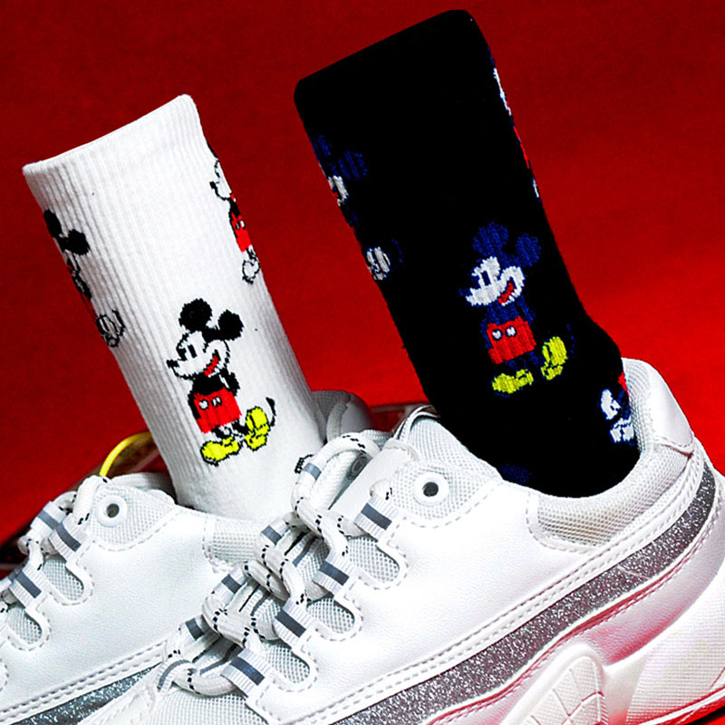 Korean Style Mickey Socks Fashion Novelty Warm Cartoon Mouse Sox Four Seasons Wild Comfortable Breathable Cotton Sokken
