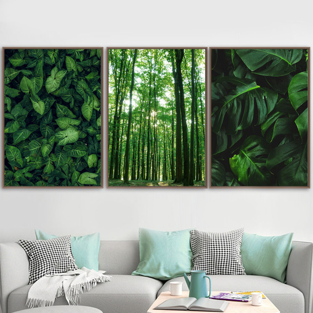 Green Forest Leaves Fog Mountain Quotes Wall Art Canvas Painting Nordic Posters And Prints Wall Pictures For Living Room Decor