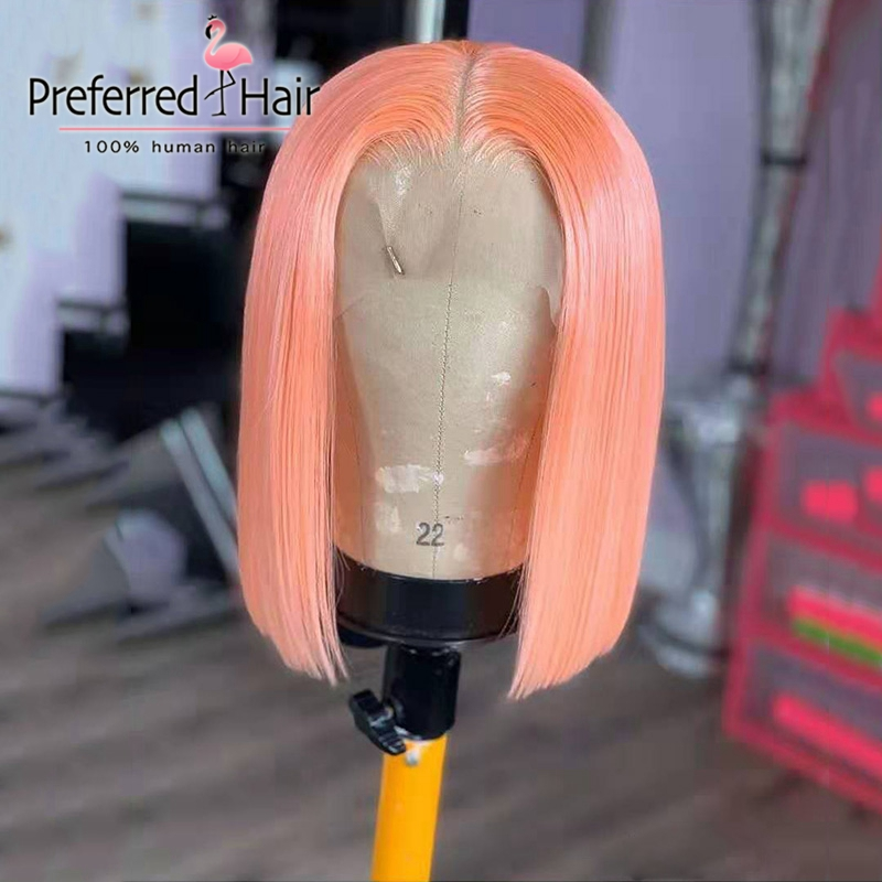 Preferred Remy 13X4 Bob Lace Front Wigs Preplucked Short Human Hair Wig Brazilian Lace Front Human Hair Wigs For Black Women