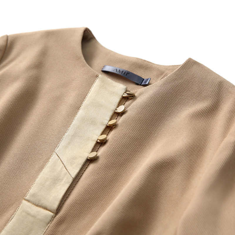 Amii kadın elbise 2018 rahat katı Patchwork düğmeler İmparatorluğu uzun kollu zarif kadın A-line elbiseler