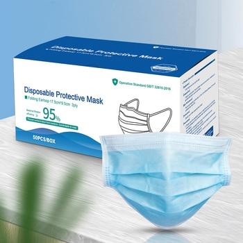 wholesale Medical Mask Anti Virus Surgical Face Mask with Mask Mascherine Antivirus Disposable Masks Filter 50 piece/lot