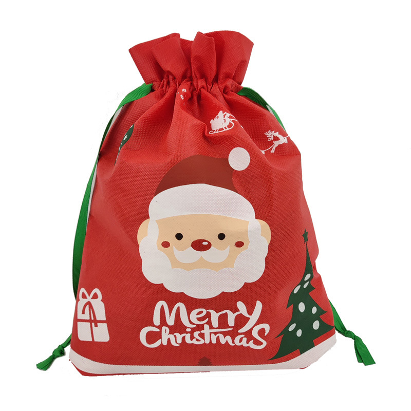 ETya Drawstring Bag Non-woven Fabric Small Foldable Shopping Bag Women Kids Merry Christmas Gift Bags