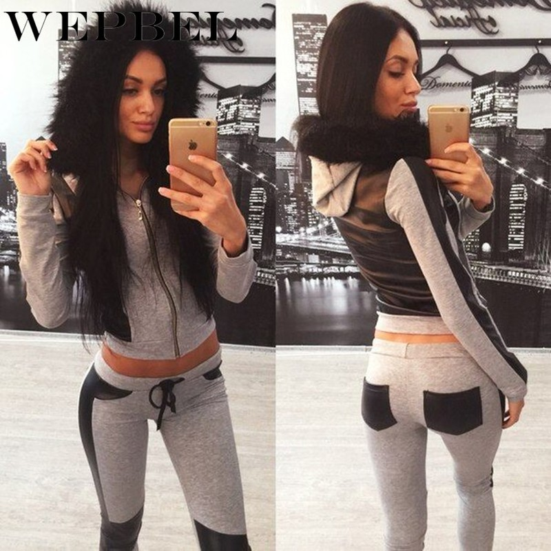 WEPBEL Women's Fashion Activewear Casual Tracksuit Sweatsuit Sweatshirts Pullovers Fur Collar Sweaters Hoodies Pencil Pants Sets