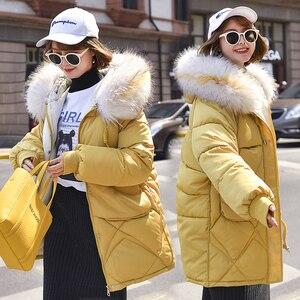 Image 3 - Ciepła kurtka zimowa damska 2020 moda futro z kapturem kołnierz puchowy płaszcz bawełniany kobiety koreański jednokolorowy luźny duży rozmiar damski płaszcz