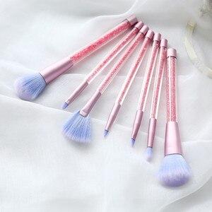 Image 2 - 7 Pcs איפור מברשות סט גליטר יהלומי קריסטל ידית איפור מברשות אבקת קרן גבות פנים איפור מברשת CosmeticTool
