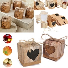 10pcs / Lot Romantic Vintage Baby Shower Kraft Paper Candy Boxes Food Gifts Bag Kids Birthday Goodie Bags Party Favors