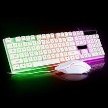Juego de teclado y ratón con luz blanca, kit de retroiluminación, juego de ratón y teclado, tapa de tecla flotante UU
