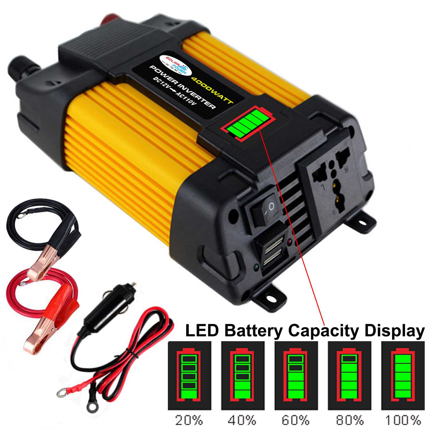 <font><b>Inverter</b></font> <font><b>1000W</b></font> 12V TO 110/220V Voltage transformer Modified Sine Waves <font><b>Power</b></font> <font><b>Inverter</b></font> DC12V to AC 110v/220V Converter+2 USB image