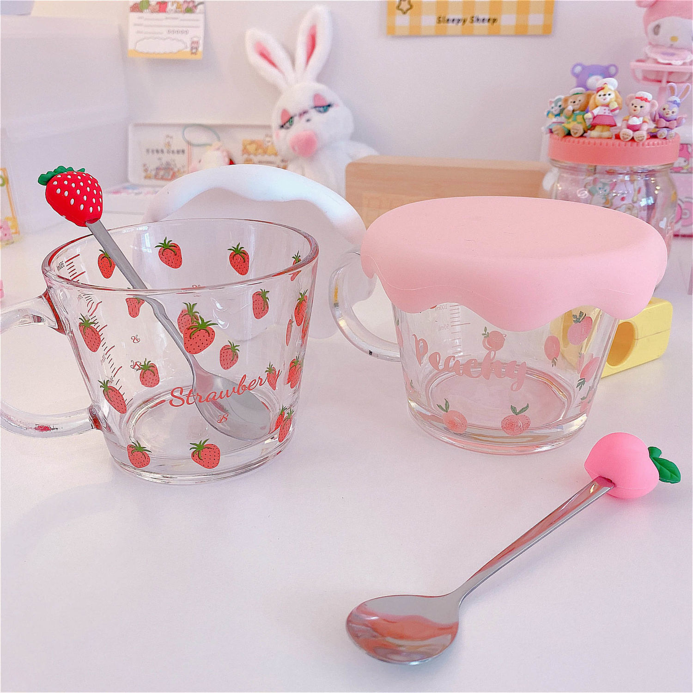 Kawaii Strawberry & Peach Cereal Cups & Spoon 1