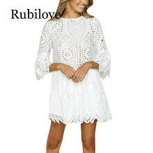 Rubilove Fashion Lace Floral Dress Womens Summer Half Sleeve Casual Loose Mini Dresses Party Elegant Lady O-Neck Princess D