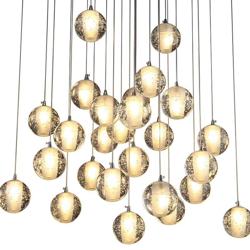 Современный хрустальный стеклянный шар светодиодный подвесной светильник светильники несколько лестничные светильники бар подвесной светильник для отеля Вилла Дуплекс квартира|Подвесные светильники|   | АлиЭкспресс