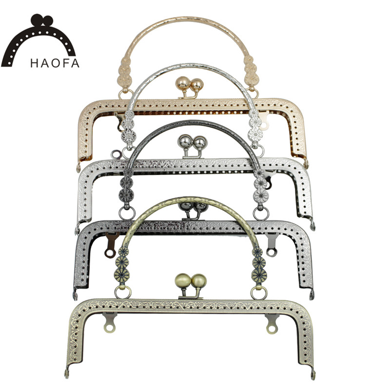 HAOFA 18cm Accessories For Bags Flower Handle Sewing Purse Frames Antique Bronze Silver Golden Gun Black Kiss Clasp Bag Parts