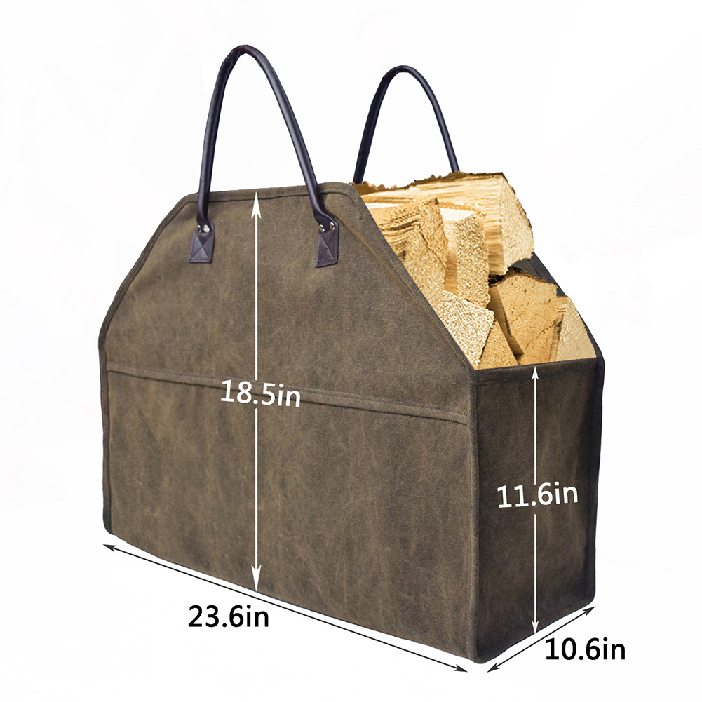 Kaminzubehör Nrw Firewood Log Bag Tote Carrier Storage Carrying Holder Heavy Duty Canvas Wood New Sointechile.cl