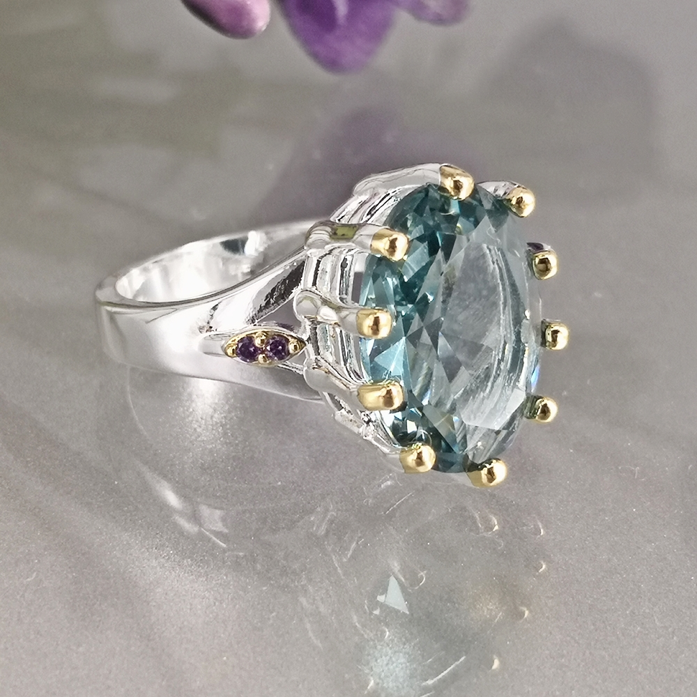 DreamCarnival1989 New Dusty Blue Zircon Solitaire Wedding Ring for Woman Delicate Cutting Dazzling Hot Bridal Jewelry WA11876BL 2