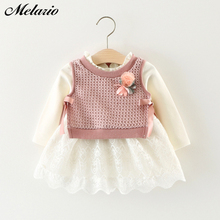 Melario Casual Autumn Kids Dress for Girls Long Sleeve Fake 2pc Knitted Dresses Newborn Body Clothes Toddler Baby Clothing 0-24M