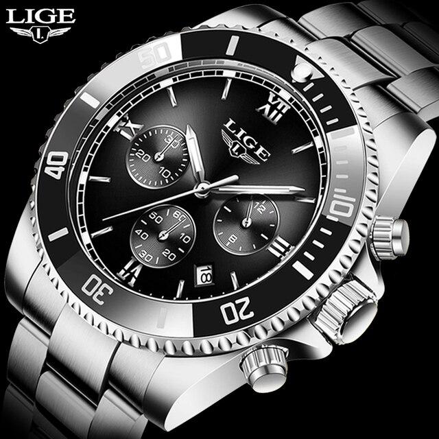 Купить часы наручные lige мужские кварцевые модные спортивные водонепроницаемые картинки цена