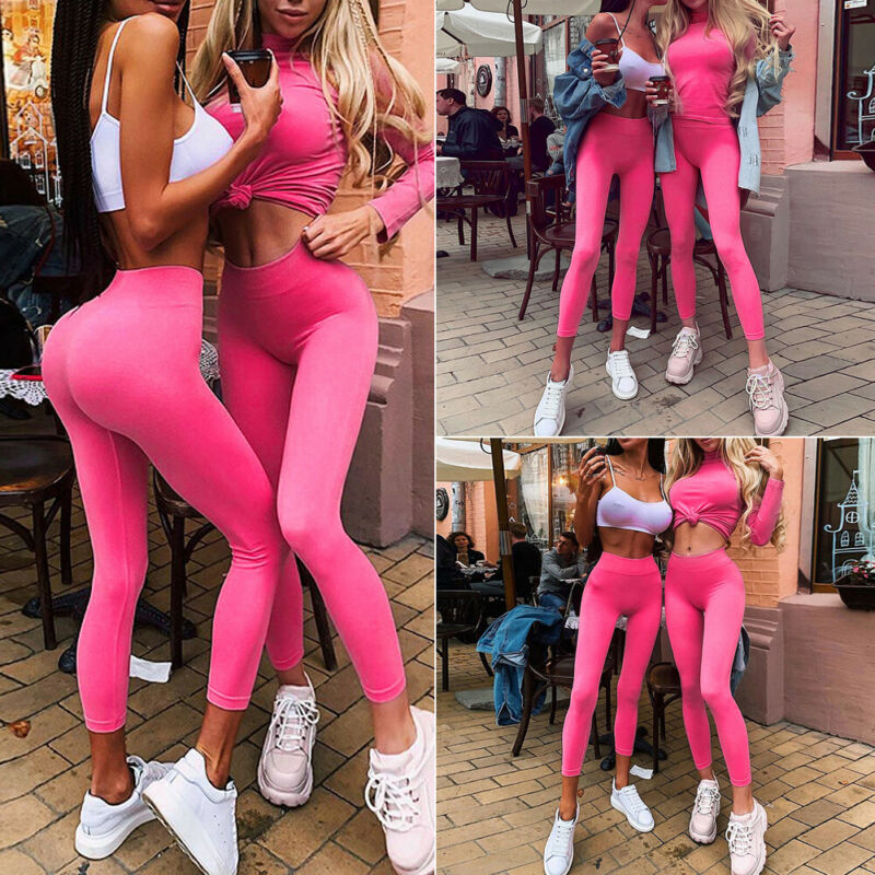 2020 Fashion Women's High Waist Slim Fit Gym Workout Anti-Cellulite Sport Pink Leggings Ladies Solid Casual Stretch Leggings