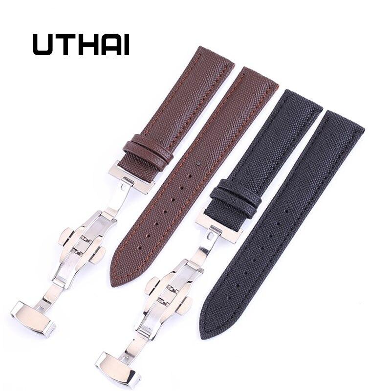 UTHAI B01 Genuine Leather Watchbands 12-24mm Universal Watch Butterfly Buckle Band Steel Buckle Strap Wrist Belt Bracelet + Tool