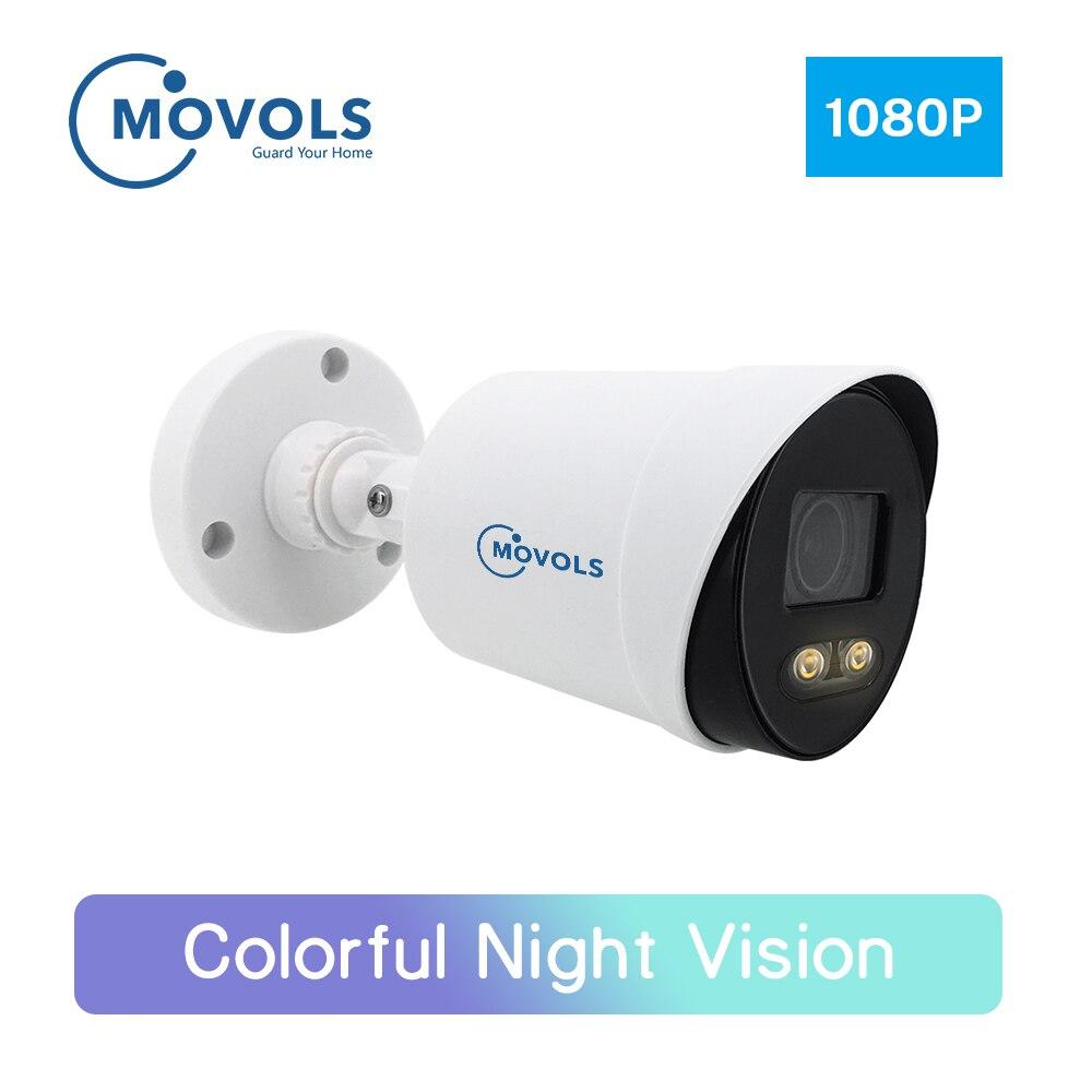 Movols caméra de sécurité à capteur Sony, caméra de sécurité colorée à Vision nocturne 2MP en vidéosurveillance AHD caméra de Surveillance vidéo d'extérieur, caméra analogique et étanche à capteur Sony