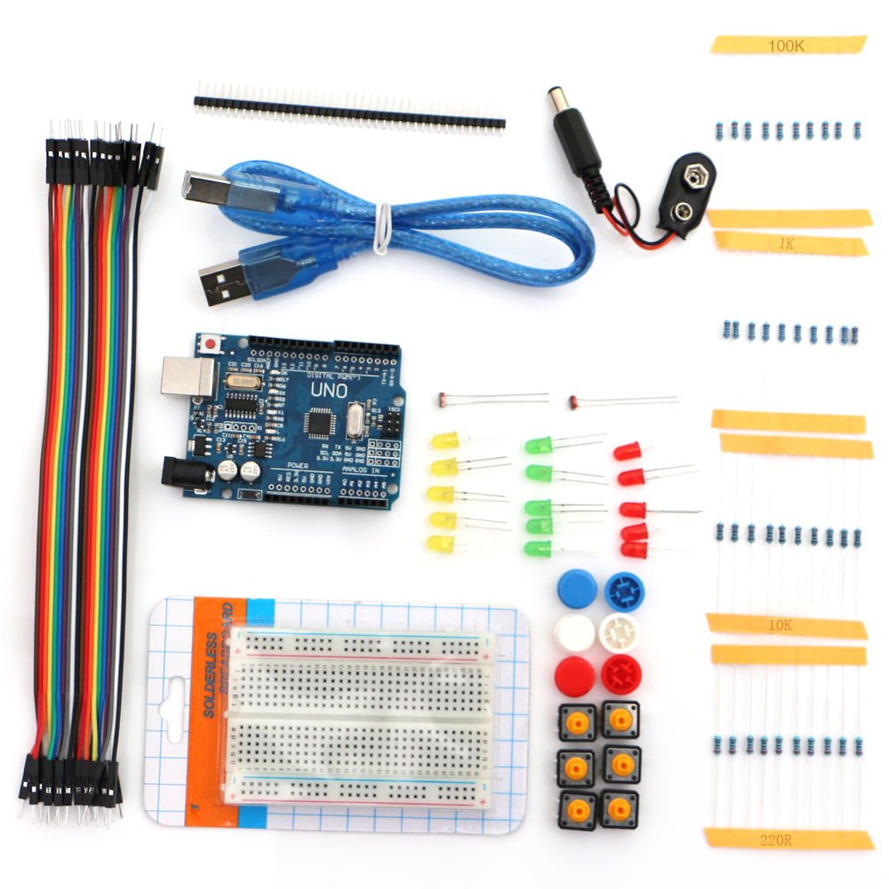New Starter Kit UNO R3 Mini Breadboard LED Jumper Wire Button For Ardui Compatile