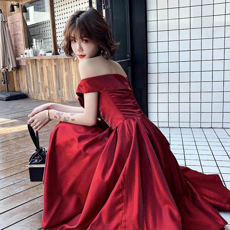 Бордовые Выпускные платья It's Yiiya K283 с вырезом лодочкой А-силуэта размера плюс Vestidos De Gala с открытыми плечами женские вечерние платья на шнуровке