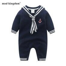 Mudkingdom boutique bebê meninos camisola macacão primavera outono manga longa marinheiro sytle infantil crawl macacão roupas de bebê
