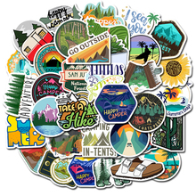 50 PCS Stickers Pack, Outdoor Adventure Travel Stickers, Colorful Waterproof PVC Stickers for Flask, Laptop, Water Bottle
