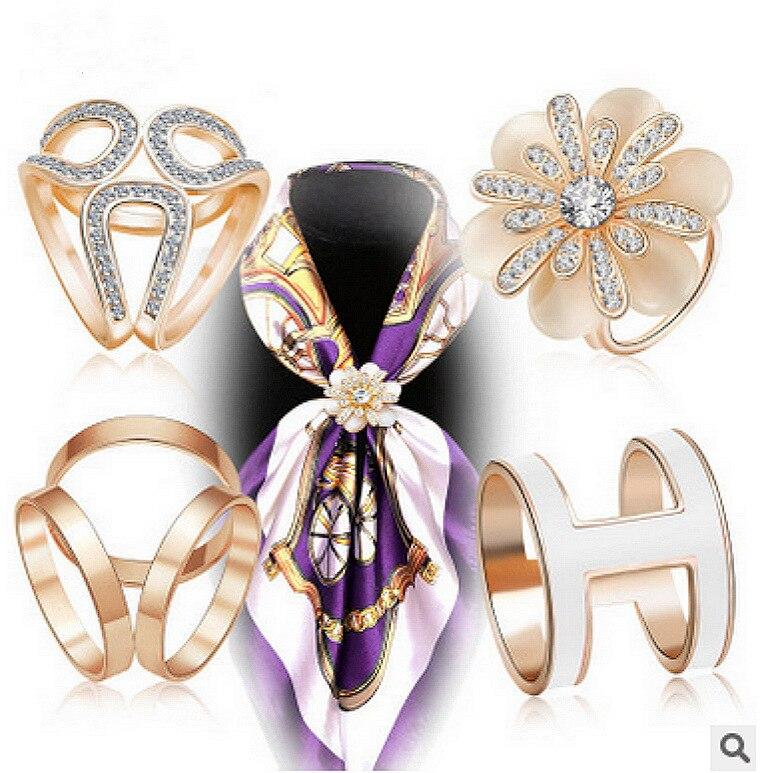 High Grade Three Ring Silk Scarf Button Cartoon Pearl Brooch Camellia Brooch With Diamond Pin Crystal Shawl Button Female
