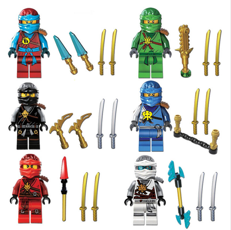 6pcs/lots NINJAGO Lloyd Cole Kai Jay Nya Zane Black Ninja Building Bricks Blocks Figures Toys Compatible With Decool 0071-0076