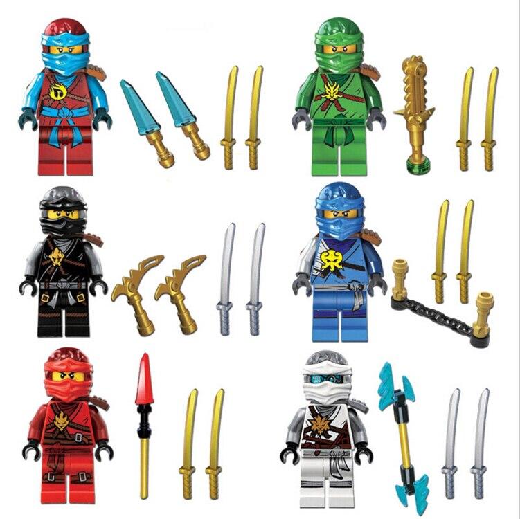 6pcs/lots NINJAGO Lloyd Cole Kai Jay Nya Zane Black Ninja Building Bricks Blocks Figures Toys Compatible With Decool 0071-0076