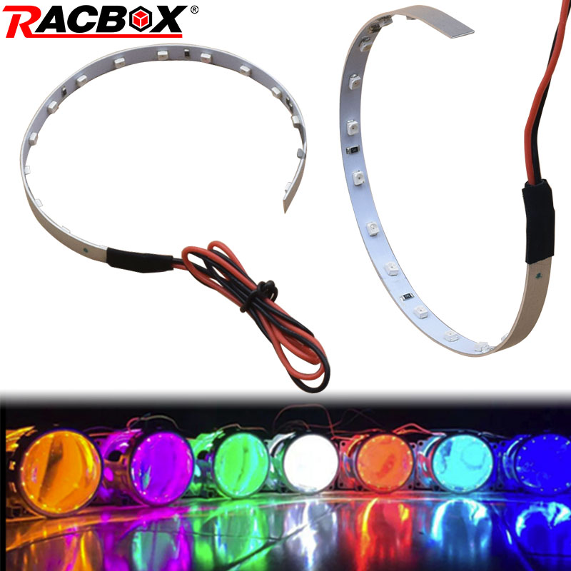 2pcs <font><b>LED</b></font> Multi-color Super Bright <font><b>360</b></font> Degree SMD Demon <font><b>LED</b></font> Halo Rings Kit Devil Eye For All Car 3.0 inch Projector <font><b>Headlight</b></font> 12V image