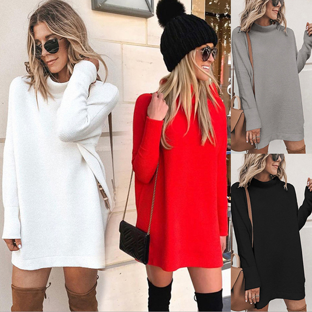 2020 Autumn Sweatshirt Dress Women Warm Winter Dress Women Long Sleeve Casual Loose Dress Ladies Female Vestidos Black 1