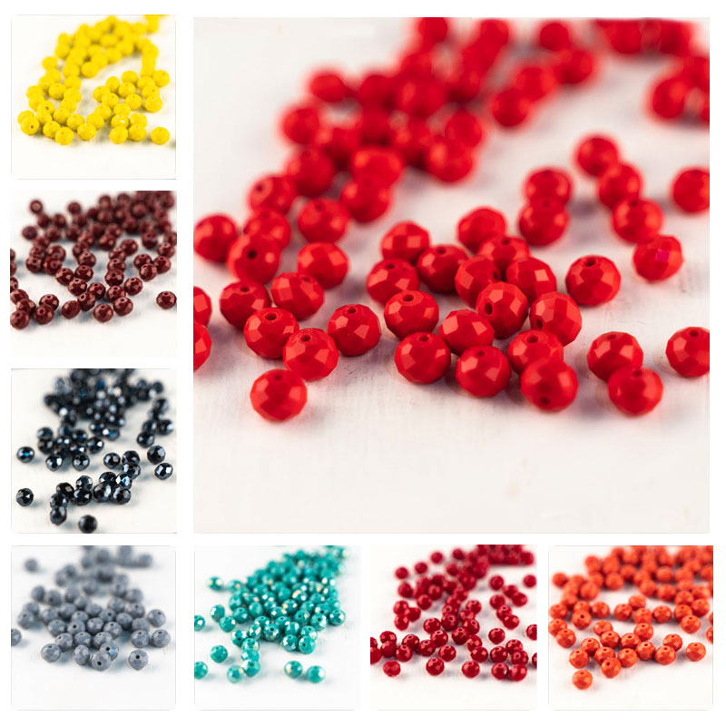 MH hot sale solid color glass beads Austrian cut crystal glass beads loose beads for a variety of jewelry DIY production