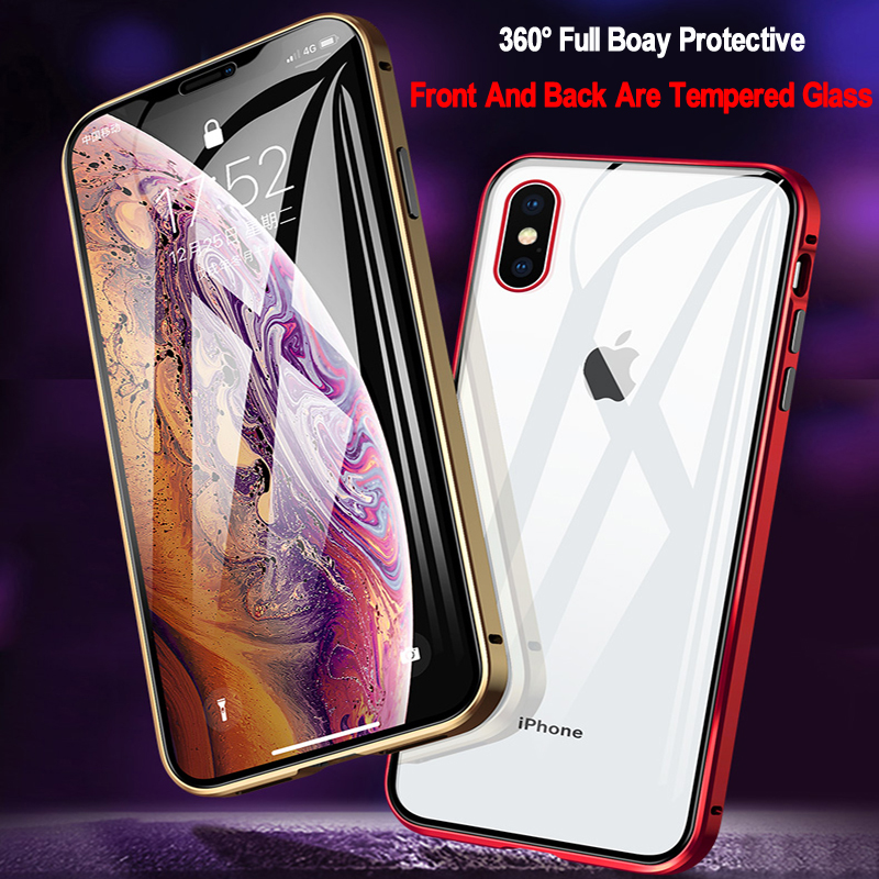 Double Sided Glass Magnetic Adsorption Phone Case For iPhone 11 Pro X XS MAX XR and iPhone 6 6s 8 7 Plus 3