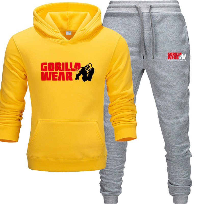 2019 New Tracksuit Fashion GORILLA WEAR Track Suit Sportswear Two Piece Sets All Cotton Fleece Thick Hoodie+Pants Sporting Suit
