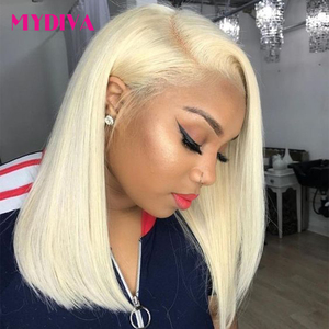 Glueless 613 Blonde 13x4 Lace Front Human Hair Wigs Bob Brazilian Straight Lace Front Wig Pre Plucked Remy Lace Wigs For Black(China)