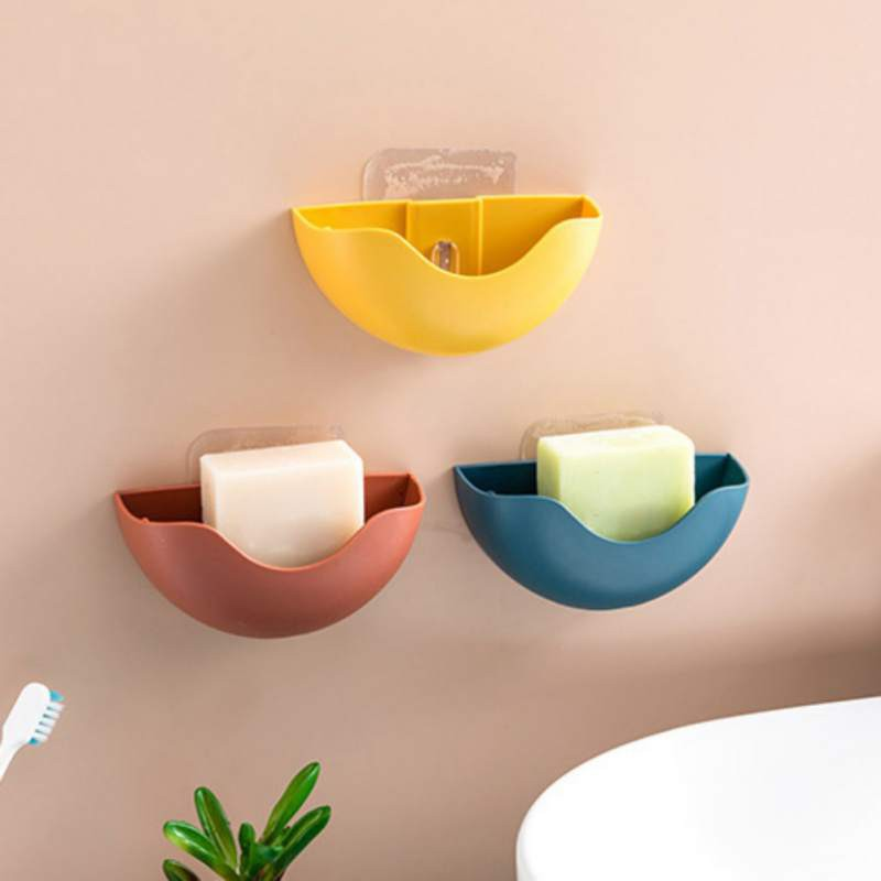 Plastic Punch-Free Soap Boxes Drain Soap Holder Kitchen Bathroom Wall-Mounted Storage Boxes Bathroom Supplies