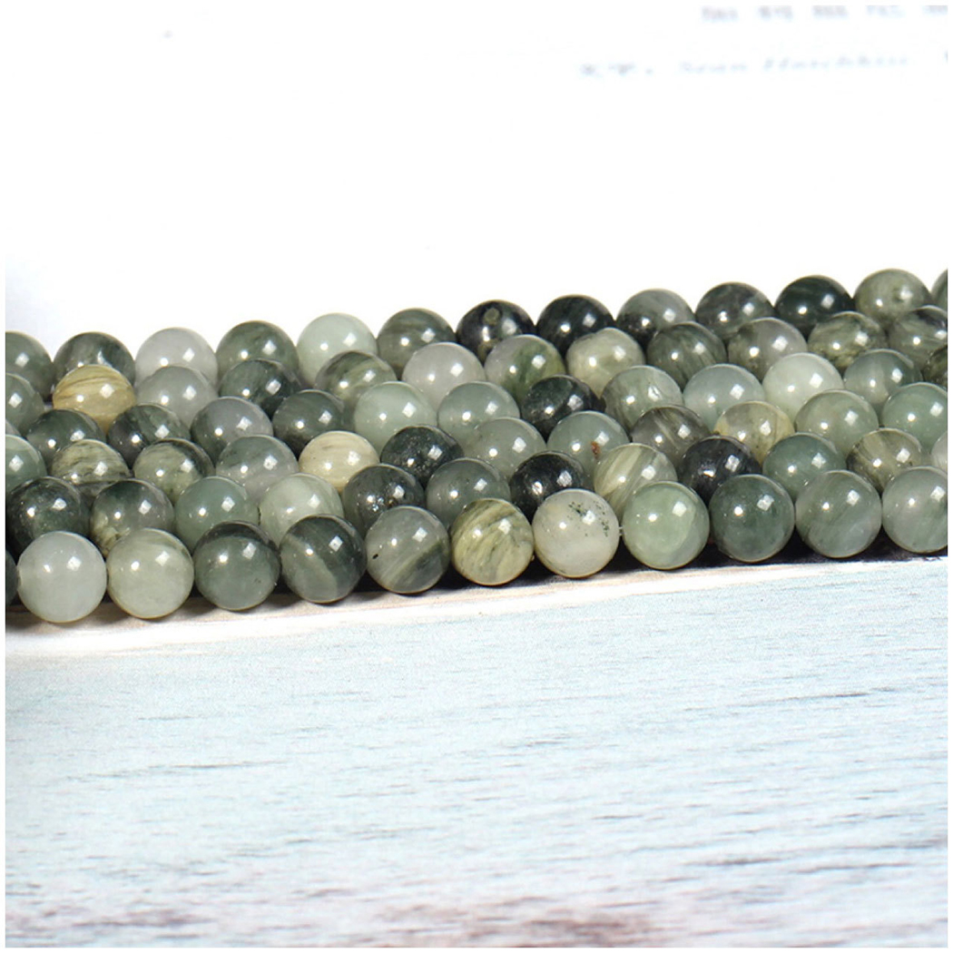 Natural Grass Jasper 4-12mm Round Gemstone Beads  For 925 Sterling Silver Jewelry Making  Necklace Bracelet 15inch ICNWAY
