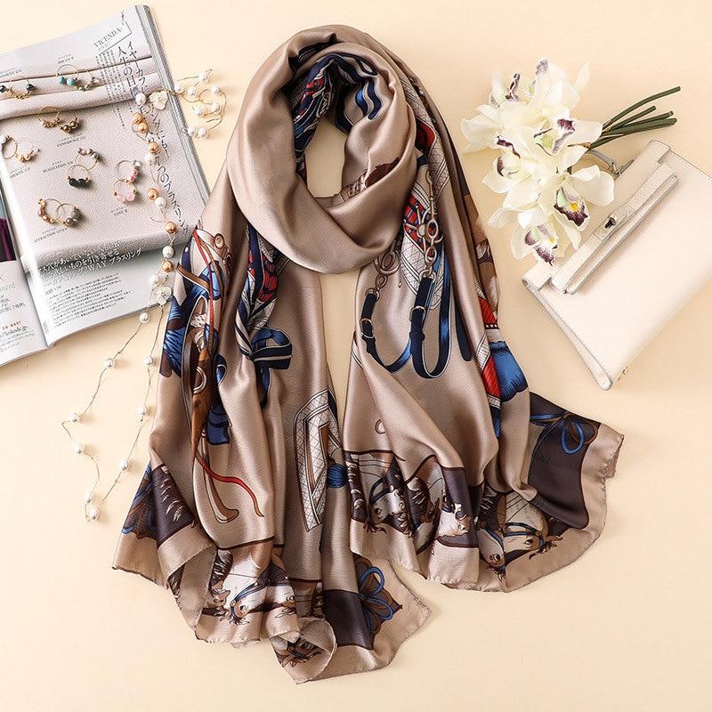 Luxury Brand Hijab Summer Women Scarves Soft Long Print Silk Scarves Lady Shawl And Wrap 2019 Pashmina Bandana Beach Stoles