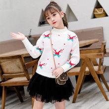 2019 Christmas Sweater Kids New Cotton Girl Round-neck Knitted Long Sleeve Pullovers Cute Cartoon for Big
