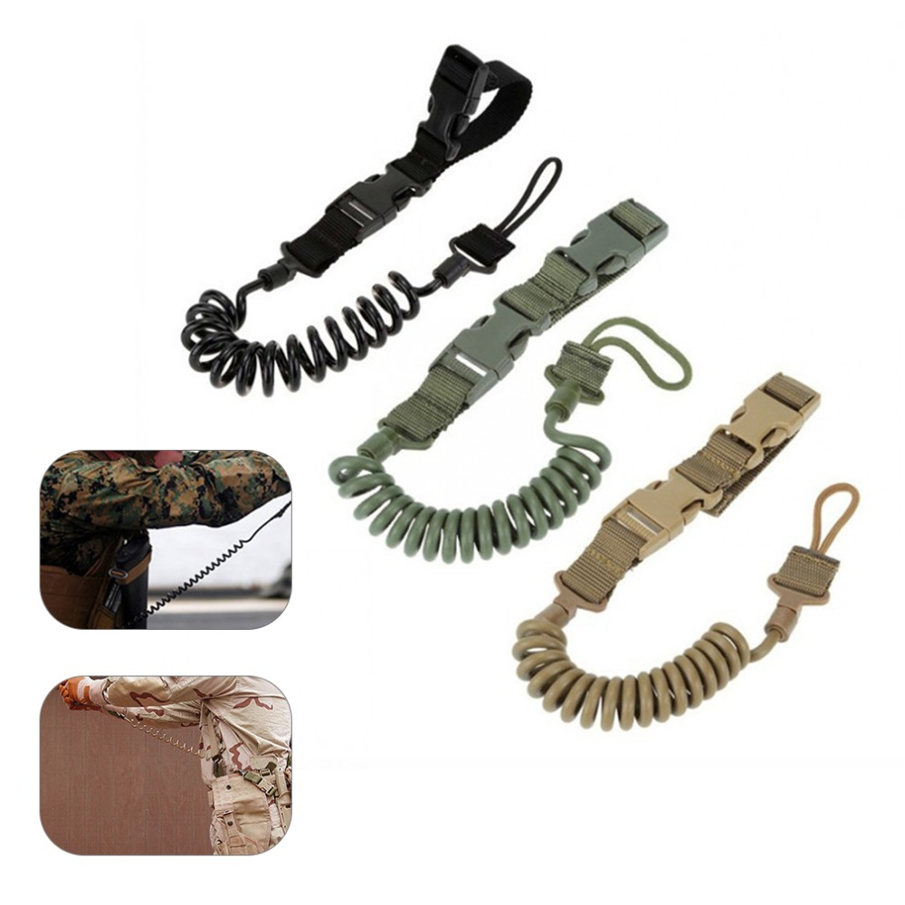 Durable Elastic Outdoor Tactical Safety Lanyard Quick Release Belt Extension-type Sling Adjustable Belt Combat Accessories