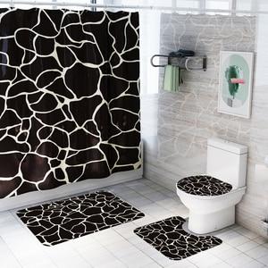 Image 3 - バスマットフック浴室の敷物セット抗床のカーペットシャワー大理石プリントトイレカバーカーペットセット