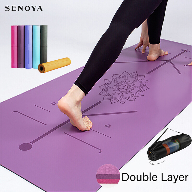 TPE Yoga Double Layer Non-Slip Mat Yoga Exercise Pad with Position Line For Fitness Gymnastics and Pilates 1