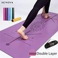 Двухслойный нескользящий коврик для йоги TPE, коврик для упражнений йоги с позиционной линией для фитнеса, гимнастики и пилатеса