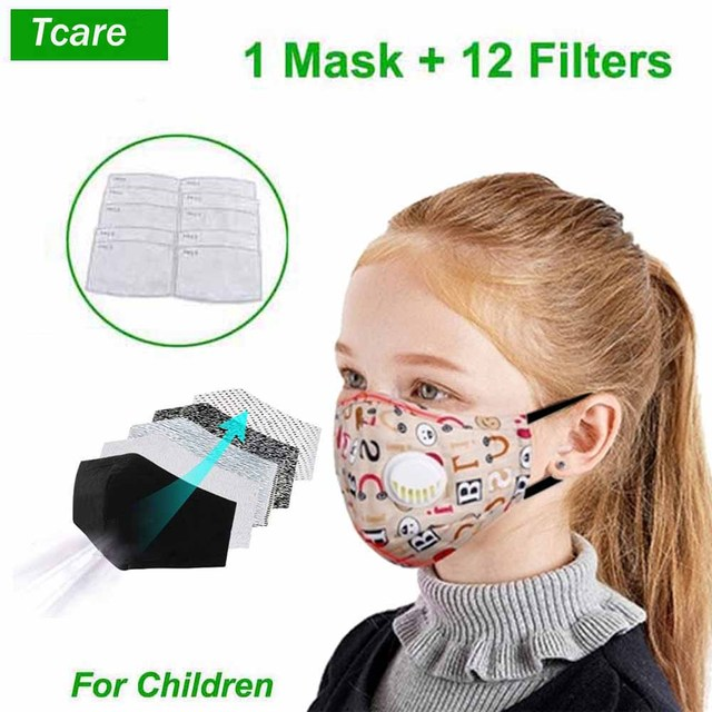 Tcare Cute Face Mouth Mask Reusable Breathable Cotton Protective Children Kid Cartoon Cute PM2.5  Mouth Face Mask