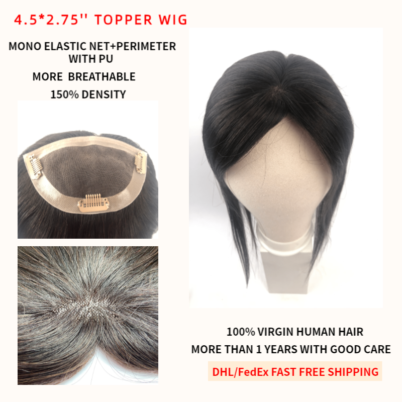 K.S WIGS 4.5*2.75'' Virgin Human Hair Topper Wig Breathable Mono PU Base With Clip In Hair Toupee Remy Hairpiece 150% Density