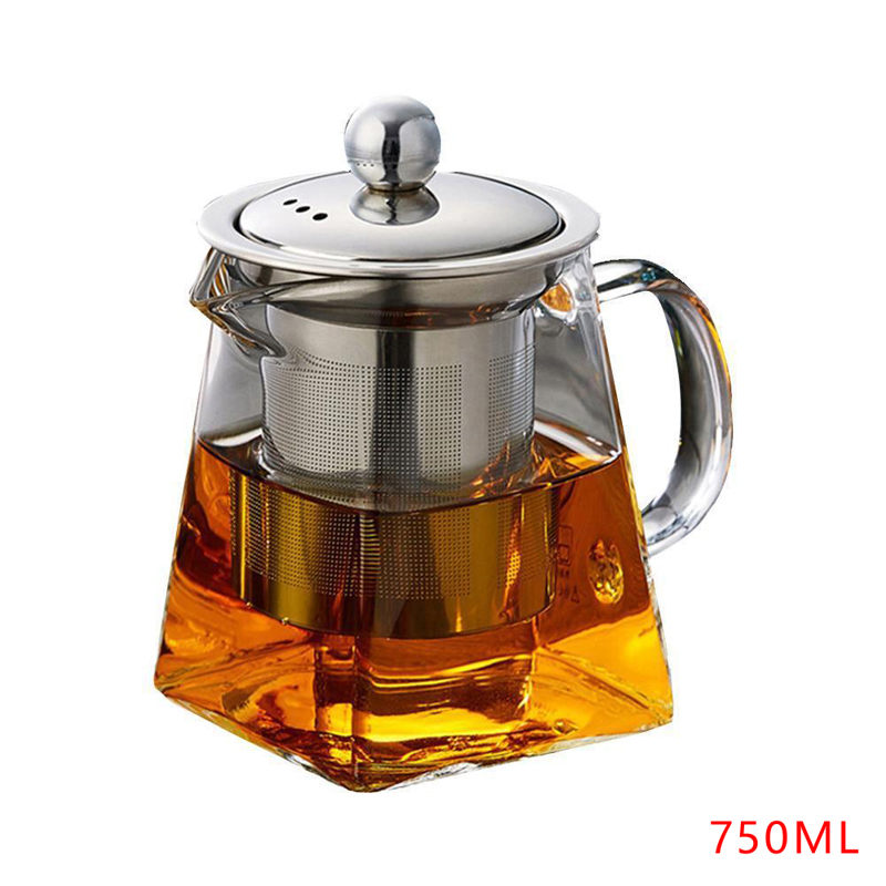 Heat Resistant Glass Teapot With Stainless Steel Infuser Heated Container Tea Pot Good Clear Kettle Square Filter Baskets 2