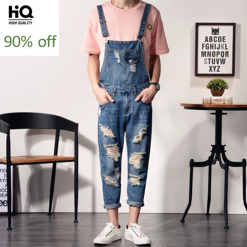 2020 New Mens Plus Size S-6XL Bib Overalls Fashion Ankle Length Denim Overalls Men Ripped Jeans Male Denim Jumpsuit Trousers