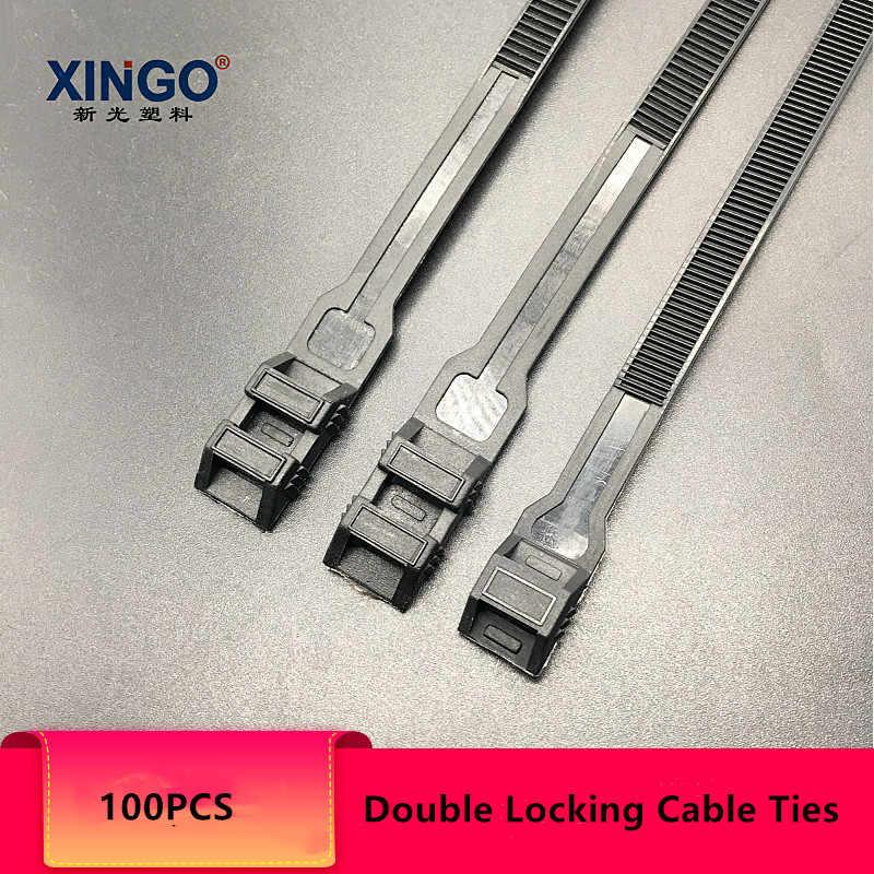 Xingo benzersiz çift kendinden kilitli siyah naylon kablo bağları tutturmak döngü elektrik teli bağları UV ağır Zip bağları 50 adet